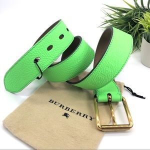 Burberry Auth. 2018 Lime Green Embossed Logo Belt